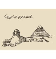 Pyramids great sphinx giza in cairo egypt sketch vector
