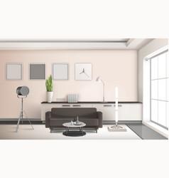 Realistic living room interior 3d design vector