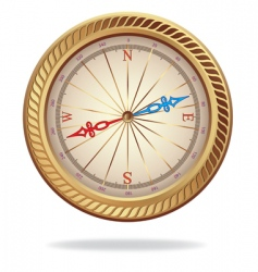 Retro gold compass vector