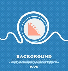 Rockfall icon Blue and white abstract background vector image