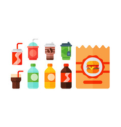 Set of cartoon food non alcoholic beverages tea vector