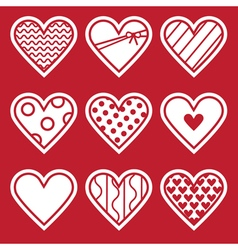 St valentines day set of simple flat hearts vector