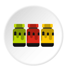Three color gouache in jar icon flat style vector