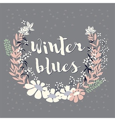 Winter floral arrangement and flowers wreath vector