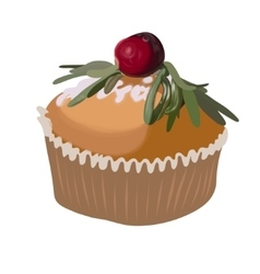 Cake with sugar pouder icon design element vector