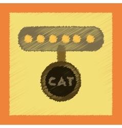 flat shading style icon cat collar vector image