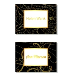 Floral business card black and golden vector