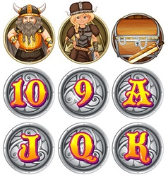 Viking characters and numbers on badges vector