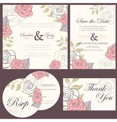Wedding invitation set vector image