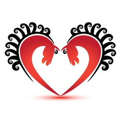 Horses and heart shape logo vector