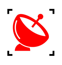 Satellite dish sign  red icon inside black vector