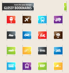 Typse of transport bookmark icons vector