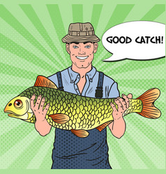 Pop art fisherman with big fish good catch vector