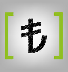 turkiey lira sign  black scribble icon in vector image