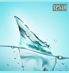 transparent water splash with wave and bubbles vector image