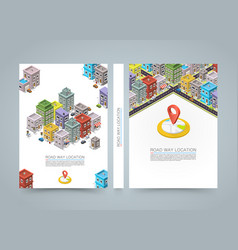 road in the city isometric banner location book vector image