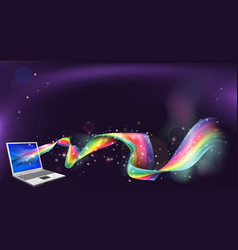 laptop rainbow background vector image