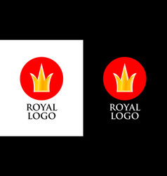 Emblem with golden crown on red round form vector