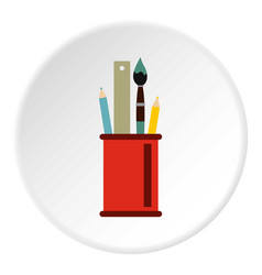 paint brushes ruler and pencils in a glass icon vector image
