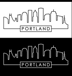 Portland skyline linear style editable file vector