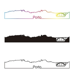 Porto skyline linear style with rainbow vector