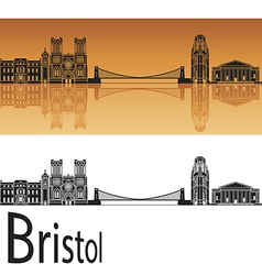 Bristol skyline in orange background vector