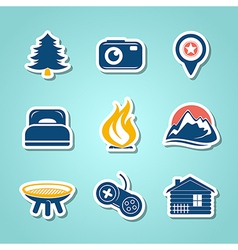 Travel and outdoor paper icons vector image
