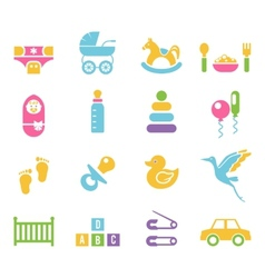 Simple children toys and accessories icons vector