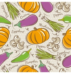 Background with pepper eggplant and pumpkin vector