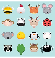 Cute cartoon animal head set 2 vector