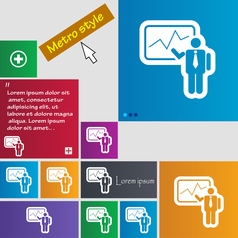 Businessman making report icon sign buttons modern vector