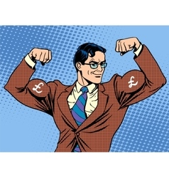 Businessman with muscles currency pound sterling vector
