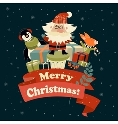Santa Claus with cute squirrel and penguin vector image