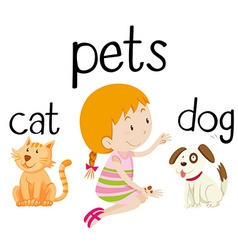 Little girl and her pets vector image