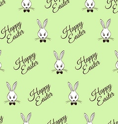 Easter seamless pattern with rabbits and greeting vector