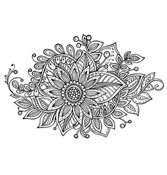 With hand drawn doodle fancy flowers bouquet vector