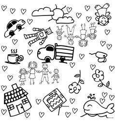 Children doodle drawing of a family group vector