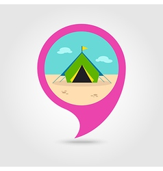 Tent pin map icon summer vacation vector