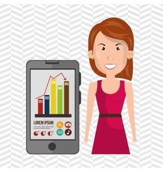 Woman smartphone and statistic isolated icon vector