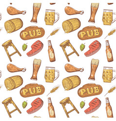 beer pub hand drawn seamless pattern brewery vector image