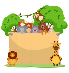 blank paper with many wild animals vector image