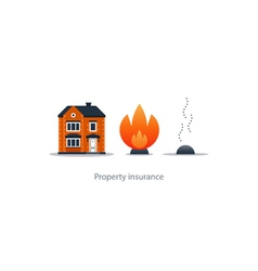 Burning fire building insurance safety concept vector
