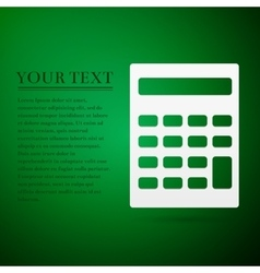 Calculator flat icon on green background adobe vector