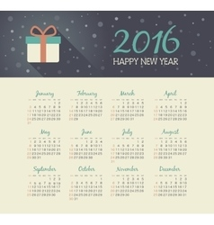 Calendar 2016 year with christmas gift vector