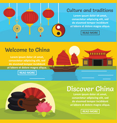 China travel banner horizontal set flat style vector