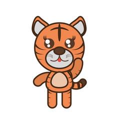 Cute tiger toy kawaii image vector