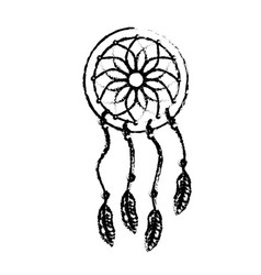 Figure beauty dream catcher with feathers design vector