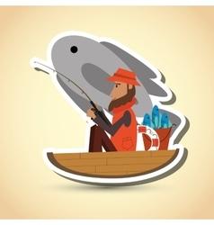 Fisherman on boat design camp concept sport vector