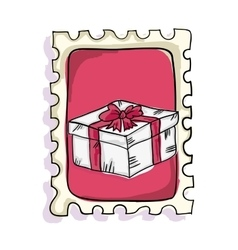 Gift box postage stamp vector