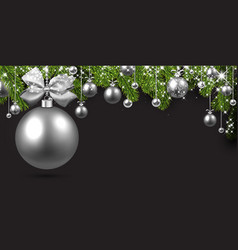 grey background with silver christmas ball vector image vector image